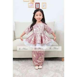 Baju Kurung Peplum Kid Girl Set -LN026 Last 10Y