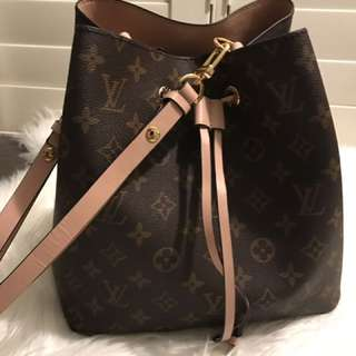 Louis Vuitton Neo Noe Replica Immitation Copy Brown Monogram Rose Pink Tote Bucket Bag Handbag Pouch