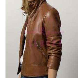 NEW Massimo Dutti BROWN GENUINE LEATHER JACKET