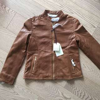 New Massimo Dutti Girl Leather Jacket