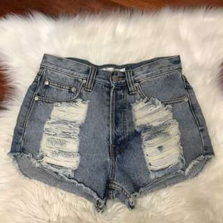 Mink Pink Distressed Denim Shorts