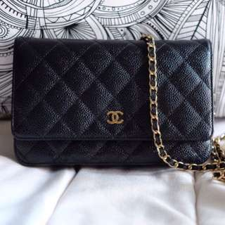 Chanel WOC in Black Caviar