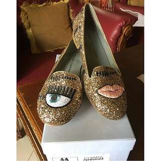 Chiara Ferragni Gold Eye Blink Flat Shoes