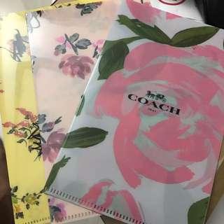 3 X Coach Floral Files