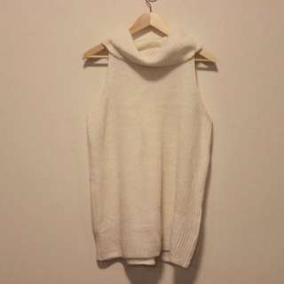 Glassons Sleeveless White Roll Neck Knit Top Size M 12-14