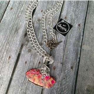 (NEW - SALE) Kalung Batu Jasper Pink