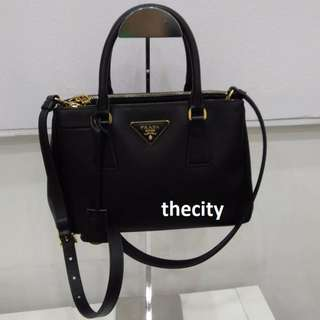 AUTHENTIC PRADA LEATHER TOTE WITH LONG SLING STRAP