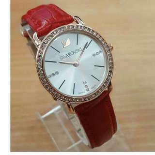 Latest SWAROVSKI Red Leather Ladies Watch