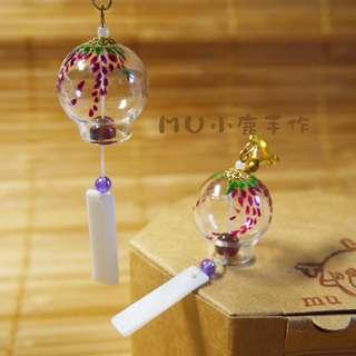 🚚 【mu小鹿手作】浴衣/和服 日本和風風鈴玻璃耳環(#05.紫藤花)