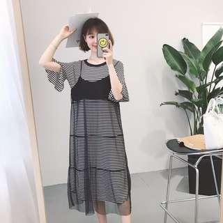 長版條紋T+紗質細肩吊帶裙套裝