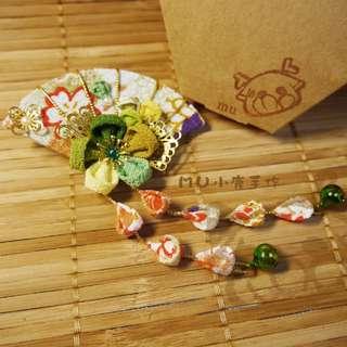 🚚 【mu小鹿手作】浴衣/和服 日本縐布和風布花髮飾 (扇子流蘇/綠橘)