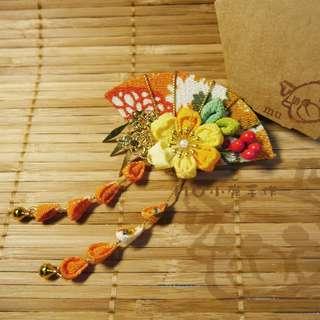🚚 【mu小鹿手作】浴衣/和服 日本縐布和風布花髮飾 (扇子流蘇/橘黃)