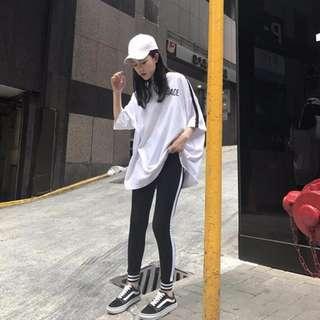 黑白條紋印字運動風套裝