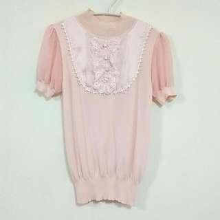 粉紅蕾絲雪紡針織上衣