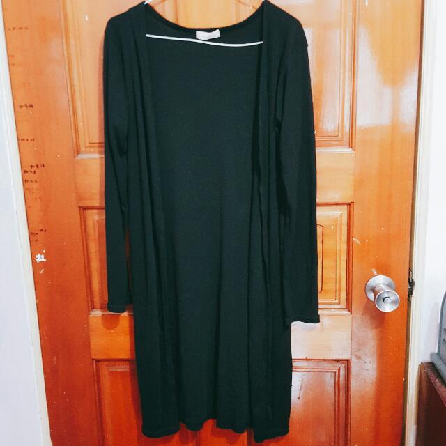 黑色薄棉質長版外套