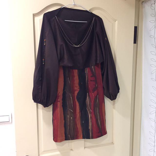 兩件式連身復古洋裝