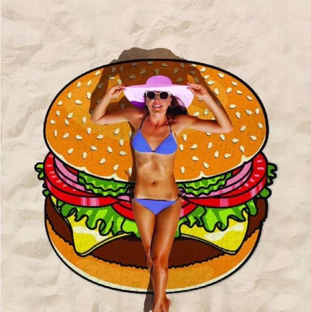 趣味沙灘巾 甜甜圈 披薩 漢堡
