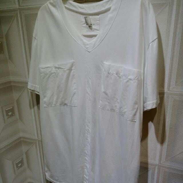 正韓 V領雙口袋寬版上衣 白色/粉橘/黑色