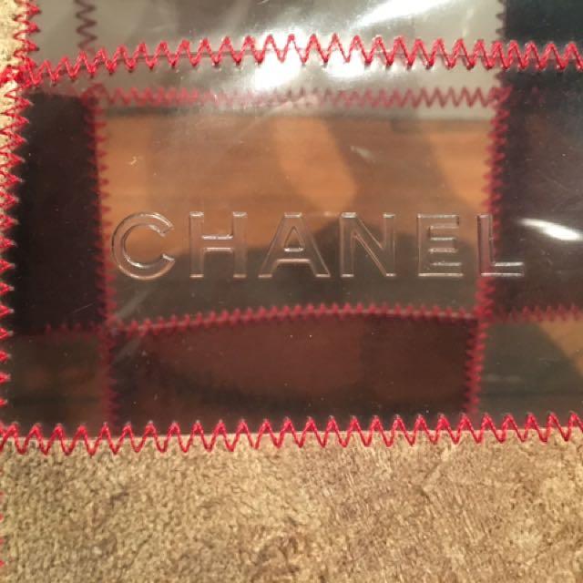 AUTH Chanel Logo Vinyl/Suede Tote