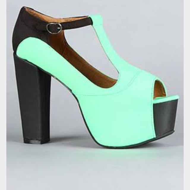 Authentic Jeffrey Campbell Black & Green Heels