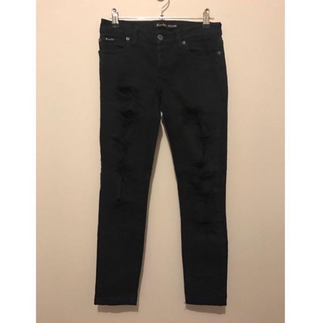 Bardot Black Ripped Skinny Leg Jeans Denim Size 8
