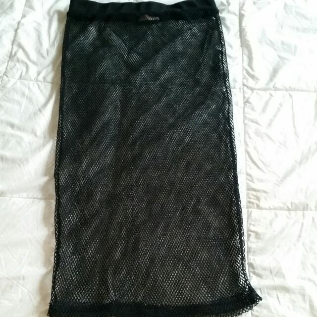 Black Midi Mesh Skirt