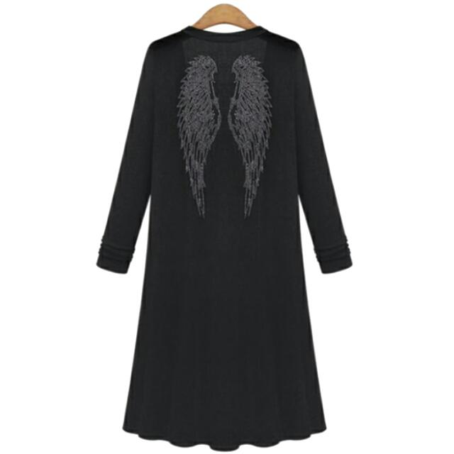 Black Oversized Cardigan/w Rhinstone Wings