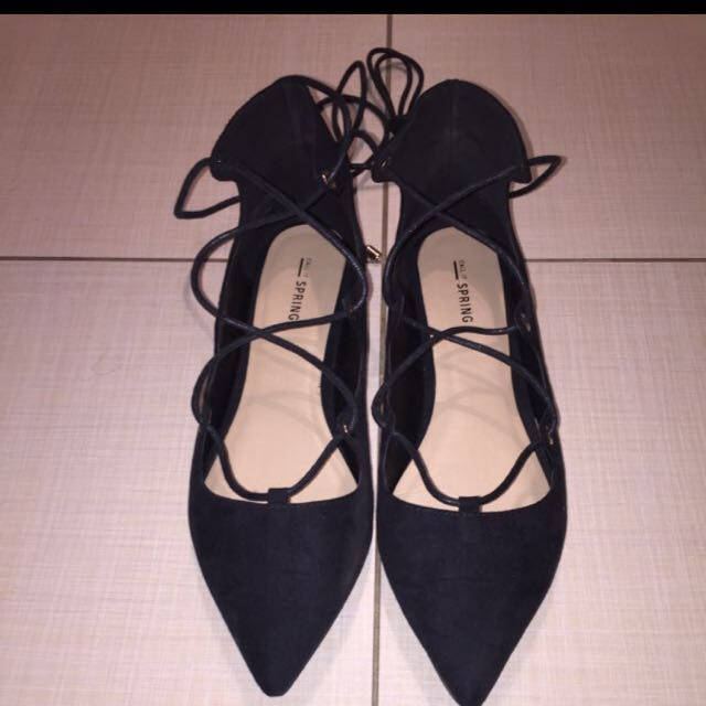 Black Suede Lace Up Flats