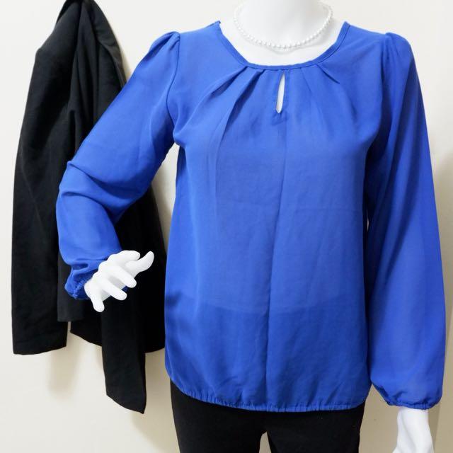 Blue Sheer Long Sleeve