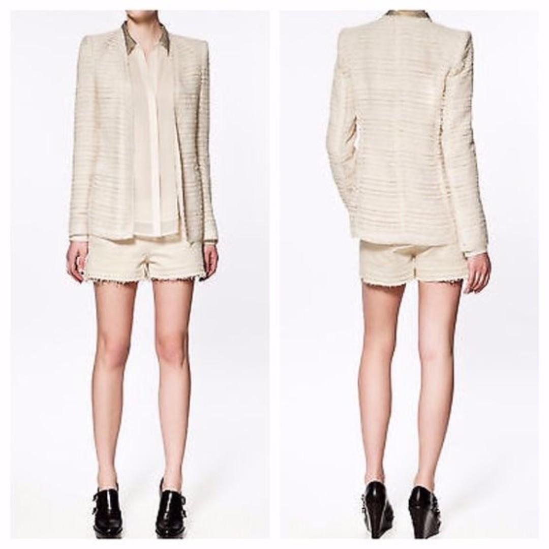 BNWT ZARA Blazer Jacket - Boucle Fantasy Blazer XS - Cream/Beige