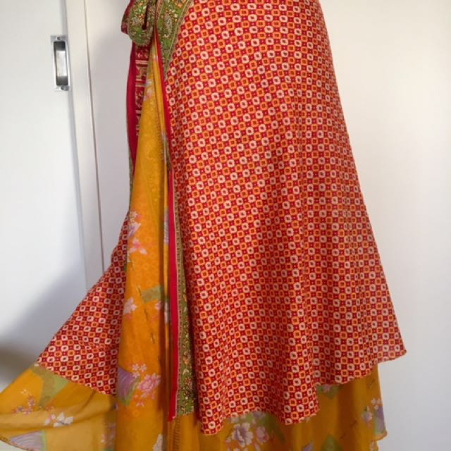FESTIVAL WRAP MAXI SKIRT LAYERED REVERSIBLE YELLOW AND RED