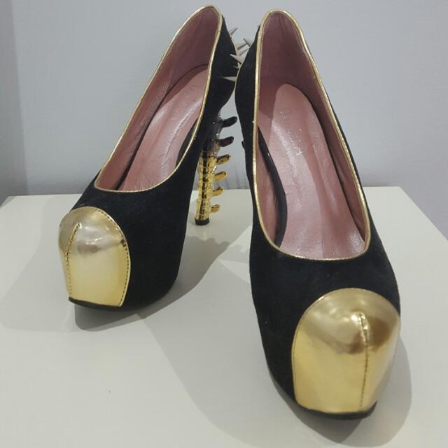 Crazy Spike Bone Heel Shoes Sz 8
