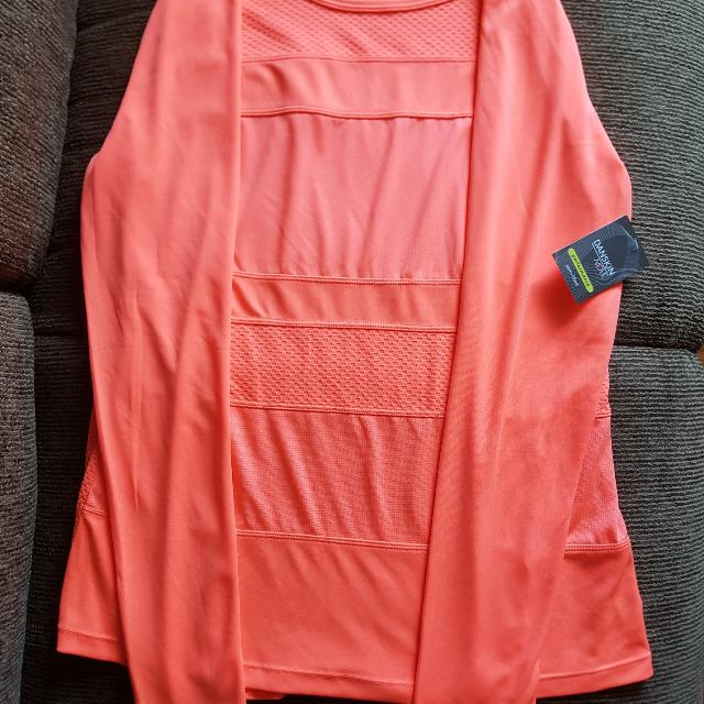 Danskin Performance Drimore Long Sleeve Tee - neon orange - US size L