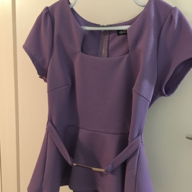 Dotti Purple Peplum Top With Gold Features