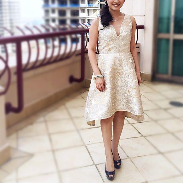 Floral Gold Jacquard Party Dress