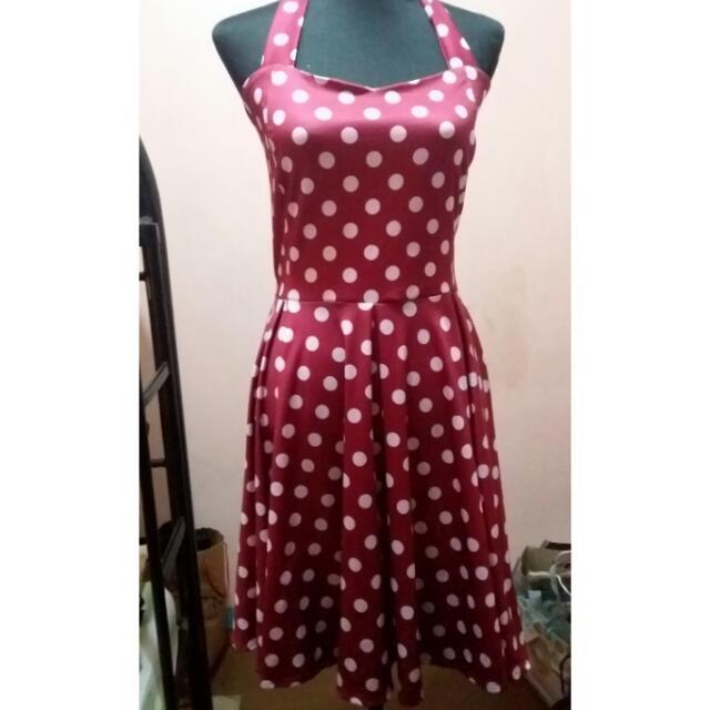 Get Laud Plus Red/Maroon/Magenta Polka Dot Dress