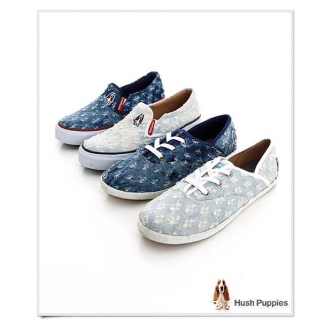 全新正品Hush Puppies個性丹寧勾紗休閒帆布鞋