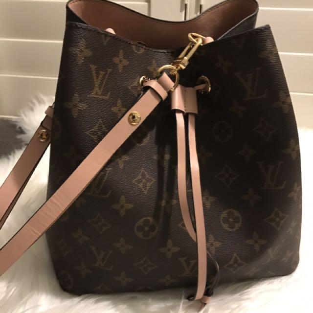 Louis Vuitton Neo Noe Replica Immitation Copy Brown Monogram Rose Pink Tote Bucket Bag Handbag Pouch