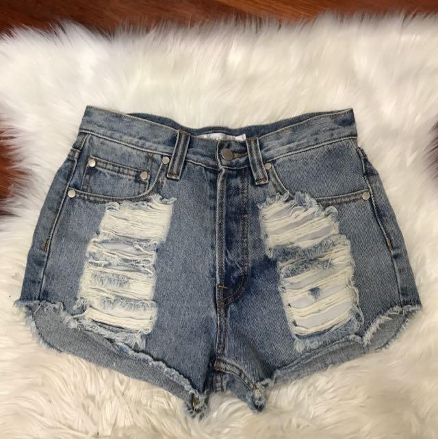 Mink Pink Distressed Denim Shorts
