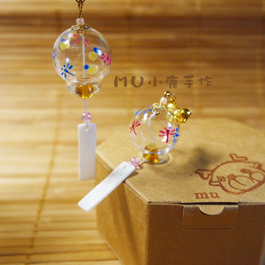 【mu小鹿手作】浴衣/和服 日本和風風鈴玻璃耳環(#09.蜻蜓)