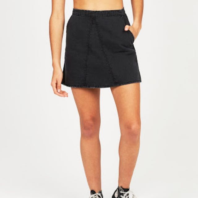 Neon Hart Black Denim Skirt