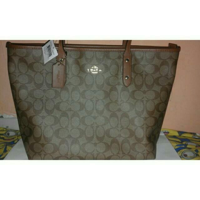 New Authentic COACH Signature City Zip Tote Shoulder Handbag khaki/saddle F58292
