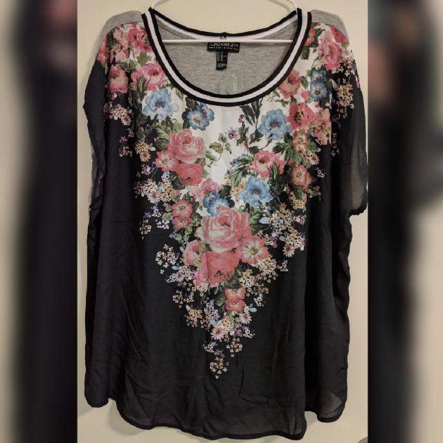 New With Tag: Forever 21+ Floral Knit Top Gray/Pink Size US 3X