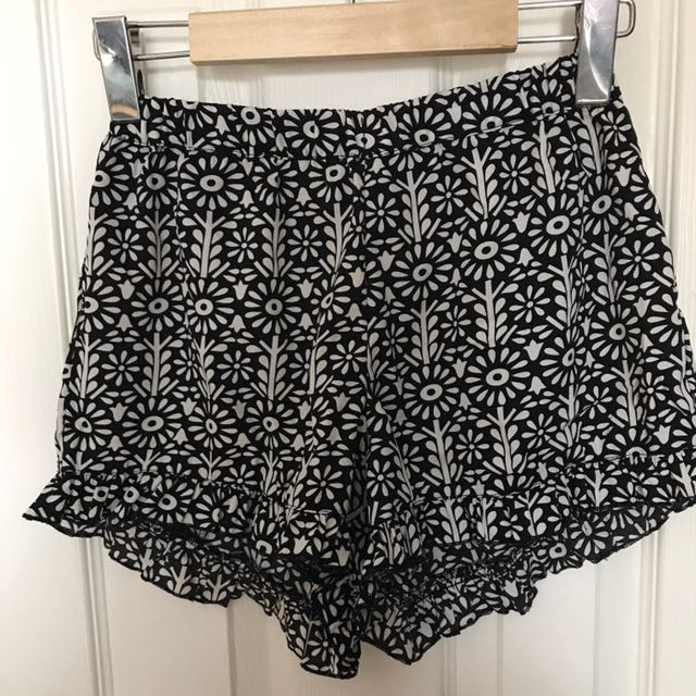 Patterned Shorts With Ruffle Detailing