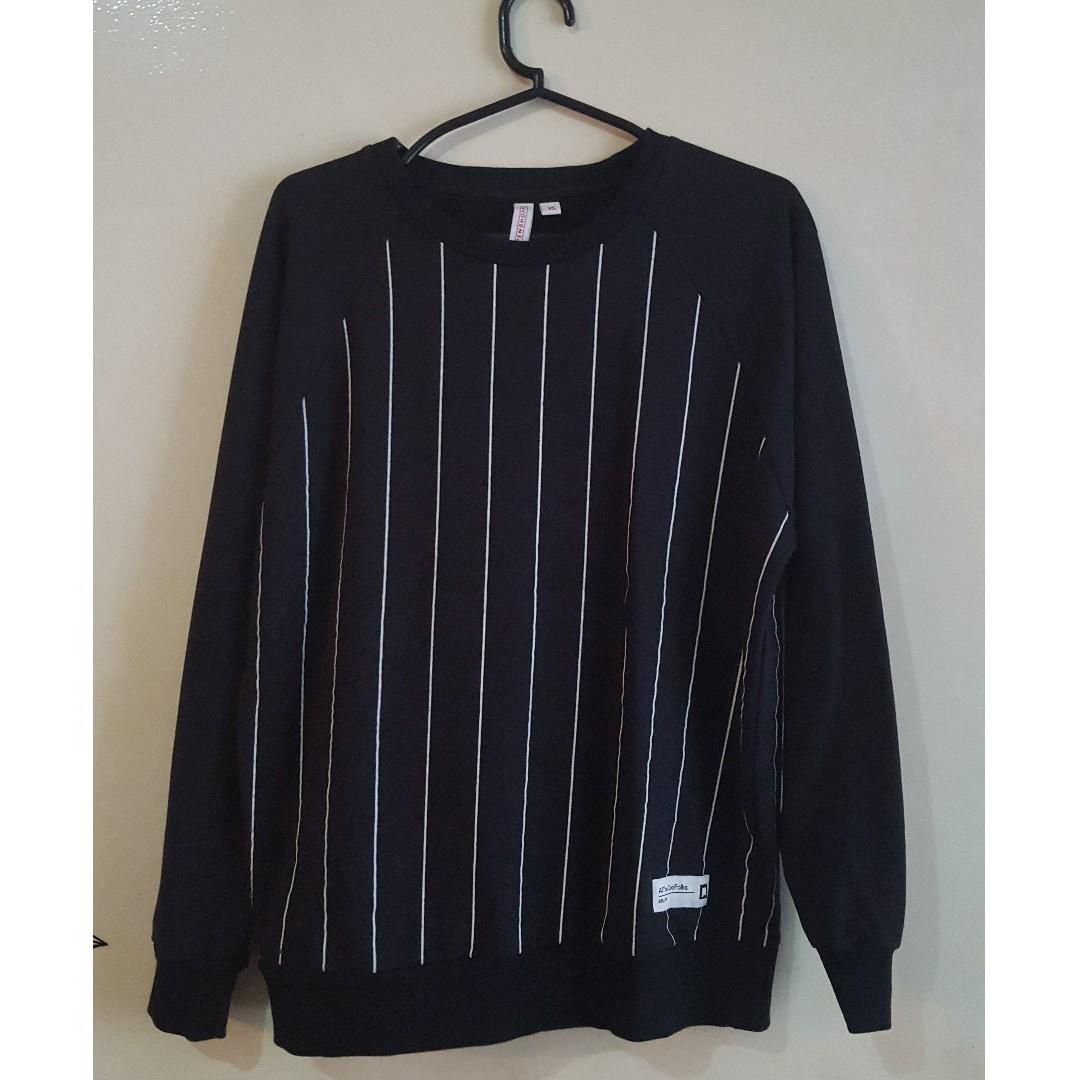 PENSHOPPE Black Stripe Pullover Sweatshirt Men Guys Size XS Small