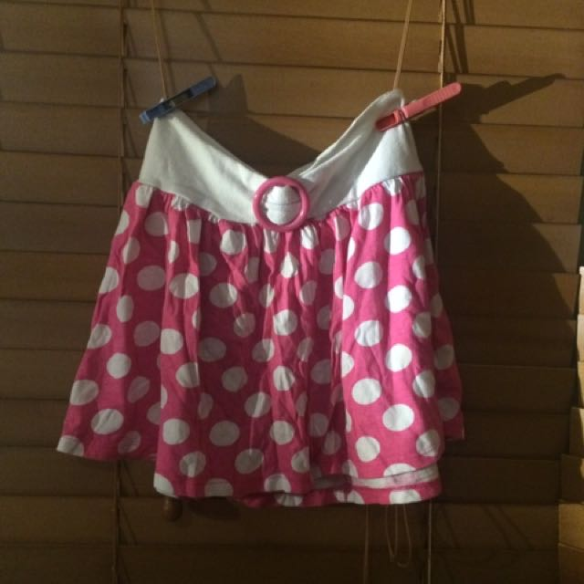 Pink Dotted Mini Skirt