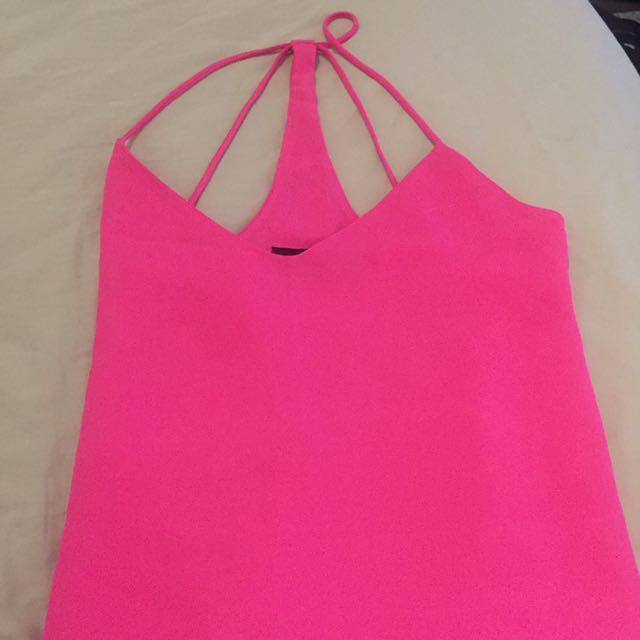 Pink Neon Chiffon Tank Top Size Sm