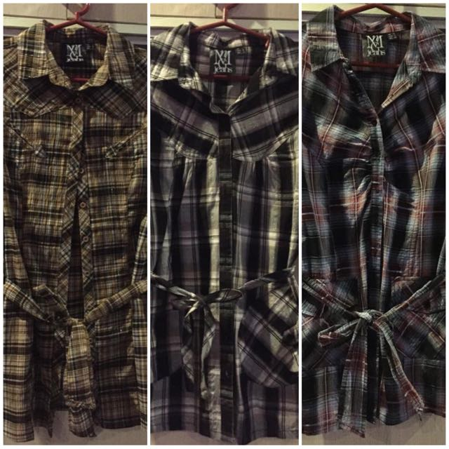 PROMO: Checkered Long Blouse Buy 3 For P550 only