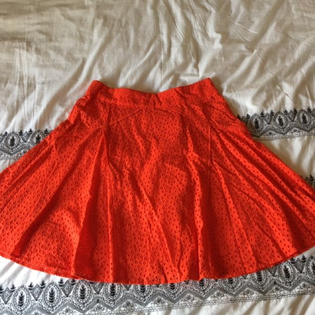 Review size 10 Burnt Orange cotton eyelet Aline Flared Skirt