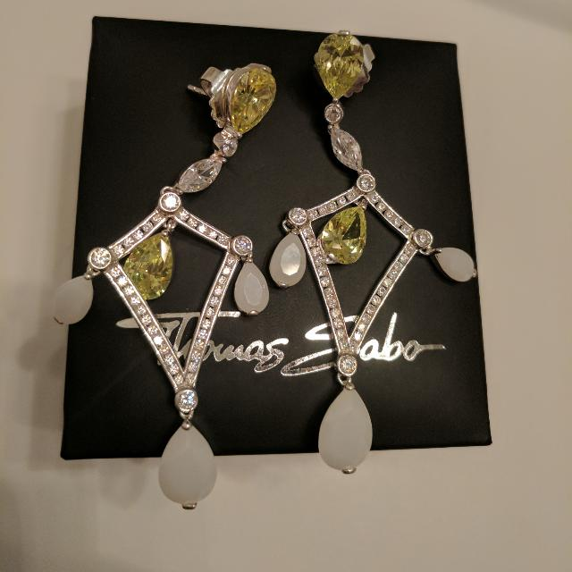 Sterling Silver Dangle Earrings w/Quartz